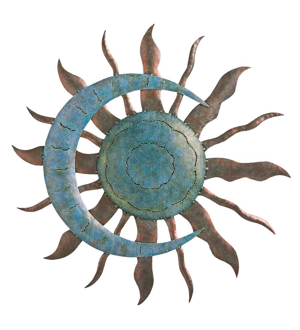 Recycled Metal Moon And Sun Wall Art In Metal Garden Wall Art With Regard To Most Current Sun Metal Wall Art (View 8 of 20)