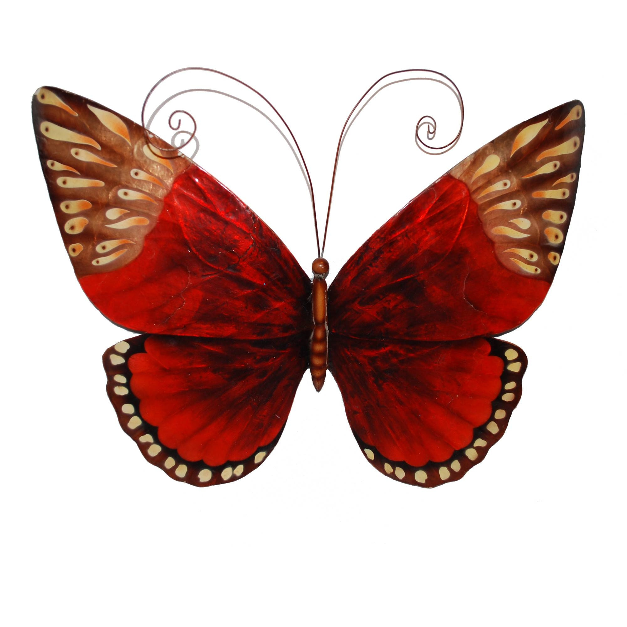 Red And Brown Tones Butterfly – Wildlife Metal Wall Art Inside Current Red Metal Wall Art (View 13 of 20)