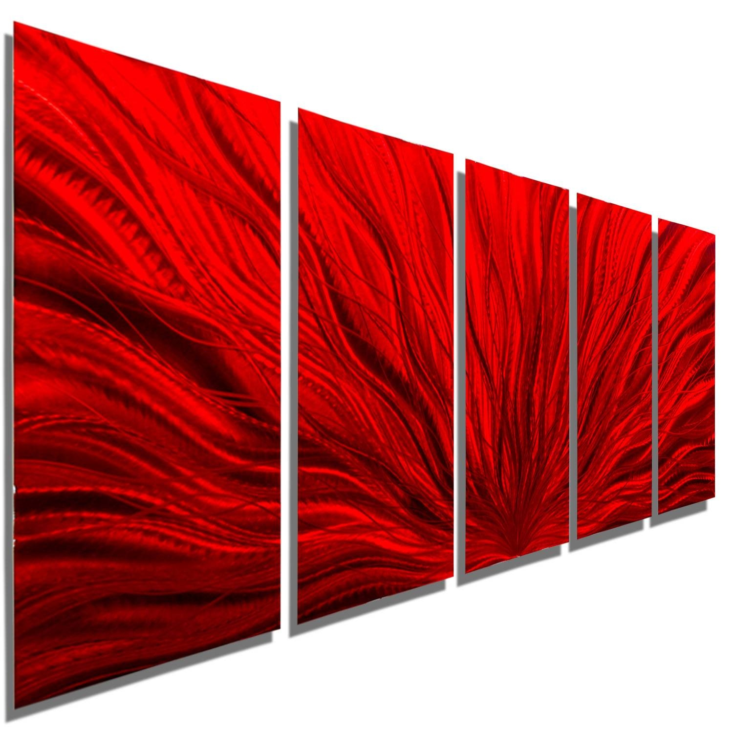 "Red Plumage – Modern Abstract Metal Wall Artjon Allen – 64"" X 24"" For 2017 Red Metal Wall Art (View 17 of 20)"