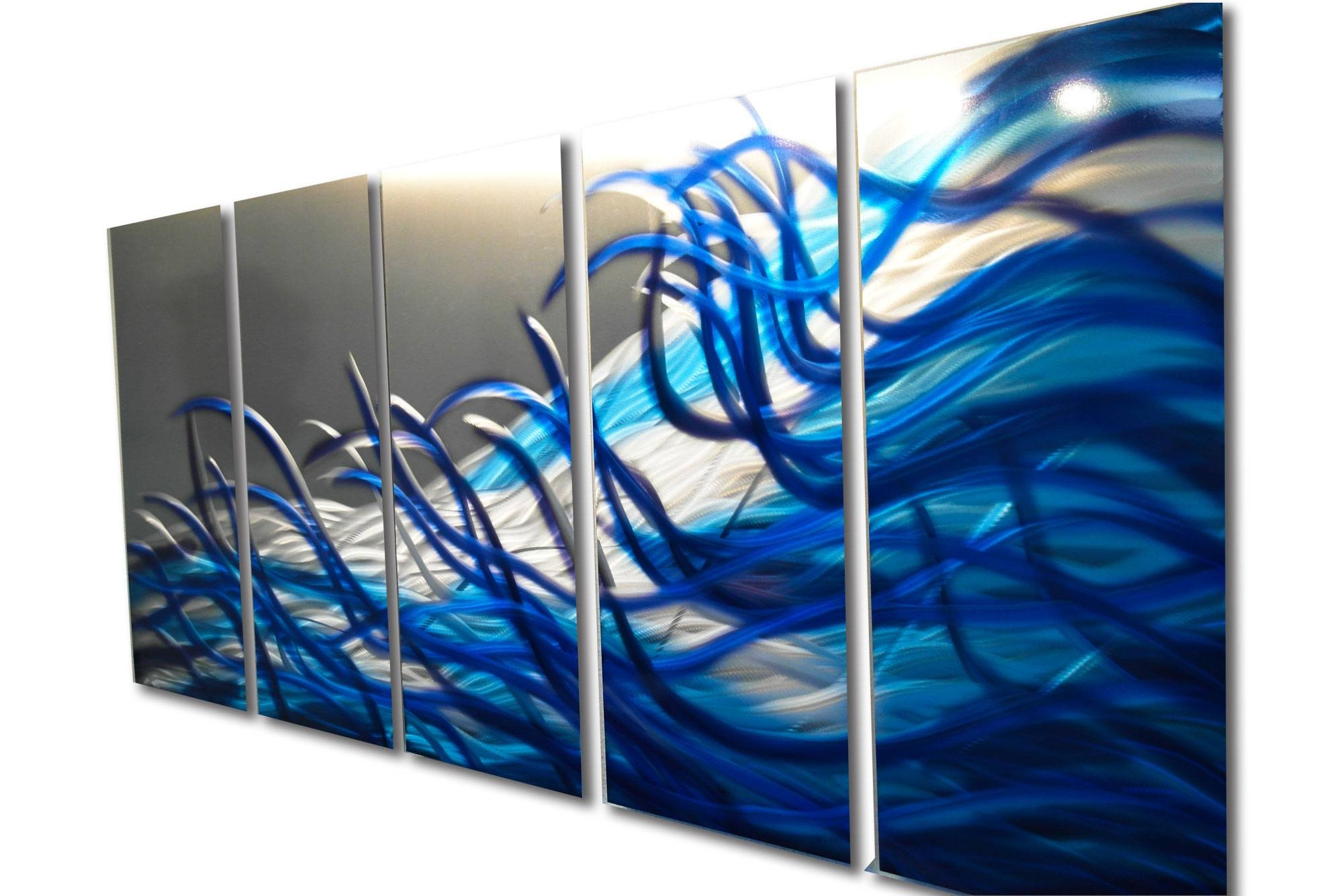 Resonance Blue 36X79  Metal Wall Art Contemporary Modern Decor In Most Up To Date Blue Metal Wall Art (View 19 of 20)