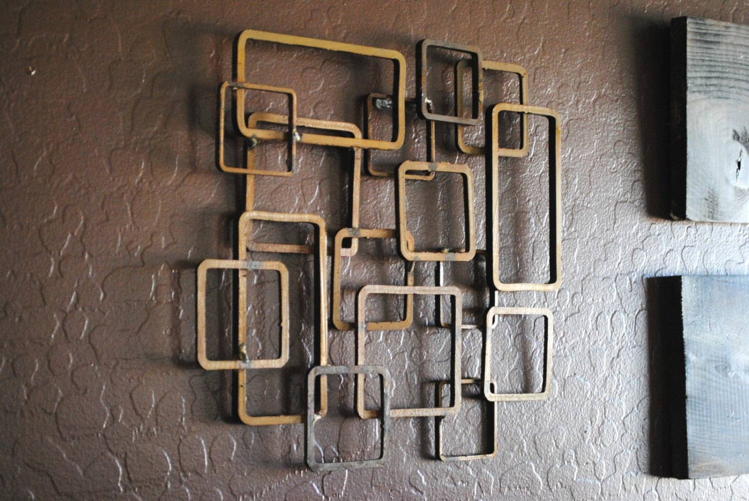 Retro Modern Metal Sculpture Art Abstract Mid Century Pertaining To Most Recently Released Retro Metal Wall Art (View 2 of 20)