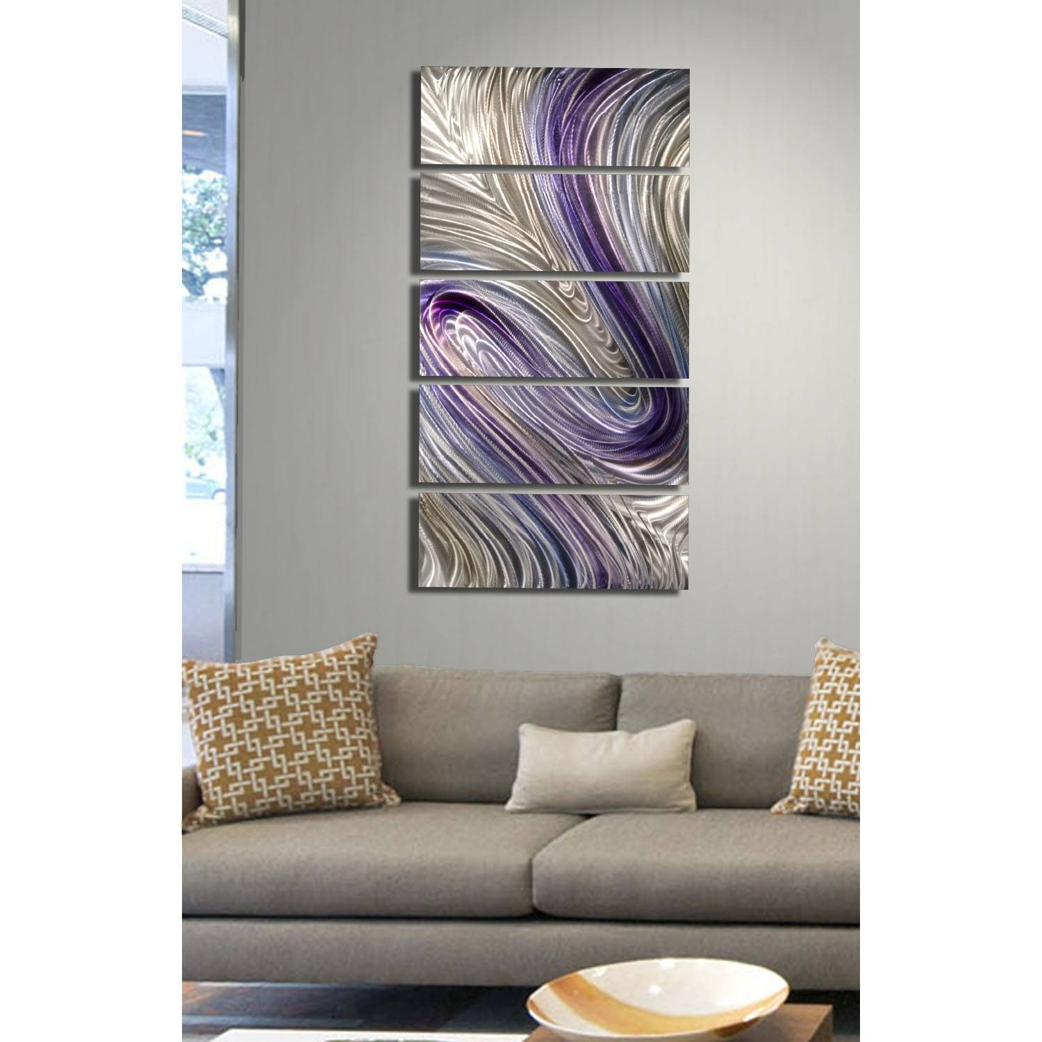 Reverie – Purple, Silver And Gold Metal Wall Art – 5 Panel Wall Intended For Most Up To Date Purple Metal Wall Art (Gallery 10 of 20)