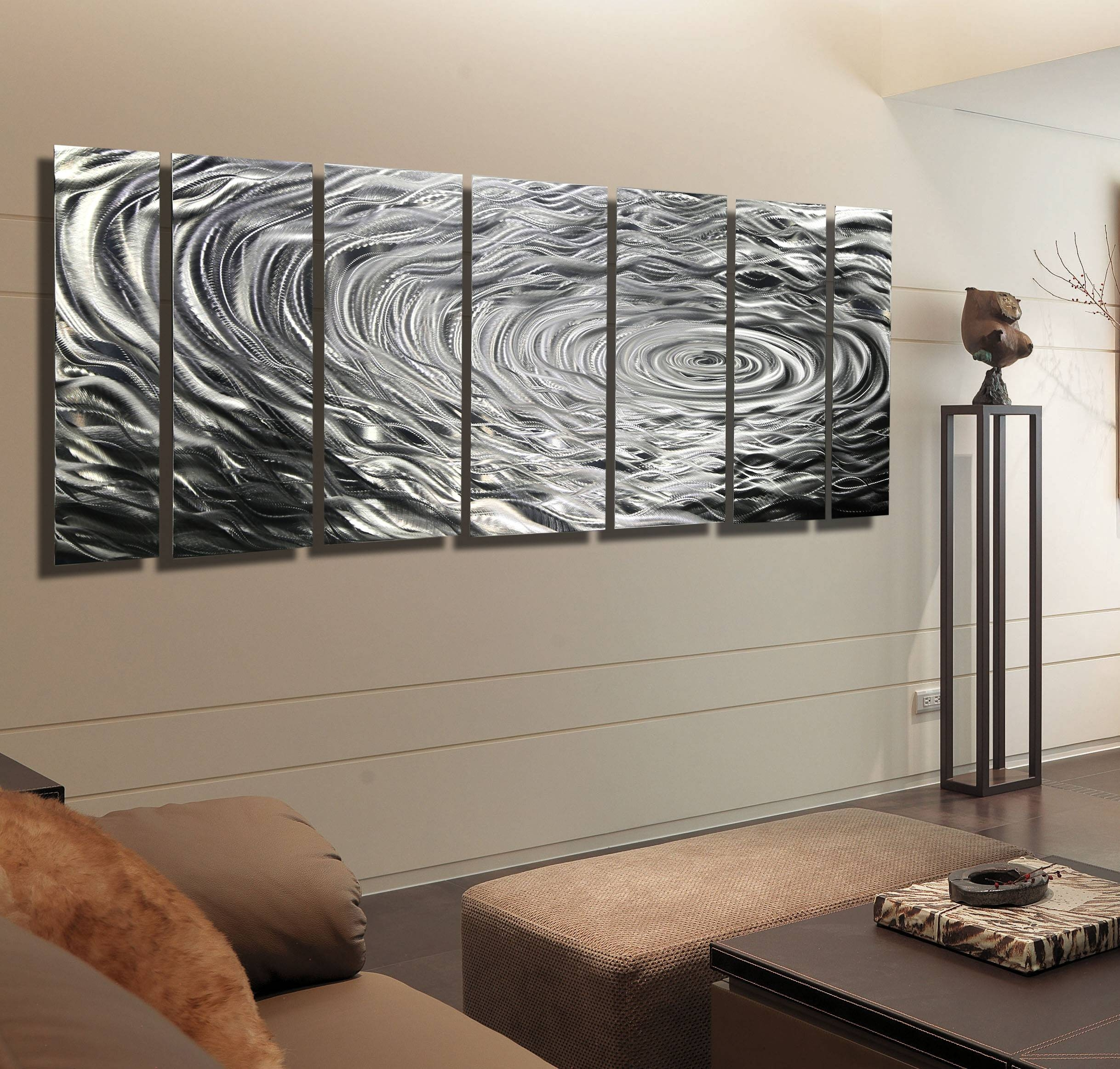 Ripple Effect Xl – Silver Abstract Corporate Metal Wall Art Decor With 2017 Etched Metal Wall Art (Gallery 13 of 20)