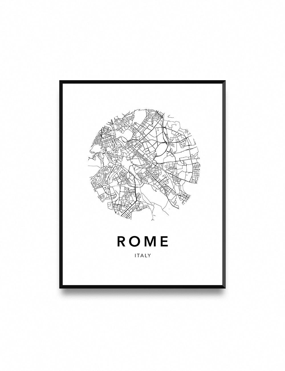 Rome Map Poster Map Of Rome Poster Rome Map Rome City Map With Regard To Most Current City Map Wall Art (Gallery 17 of 20)