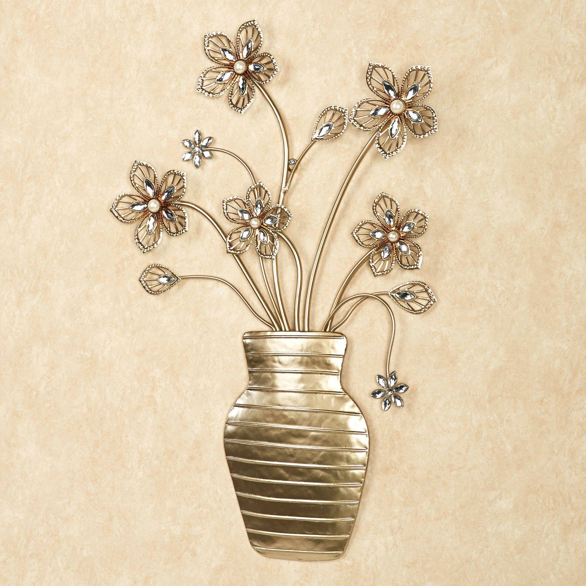 Rosianna Floral Vase Metal Wall Art For Latest Gold Metal Wall Art (Gallery 9 of 20)