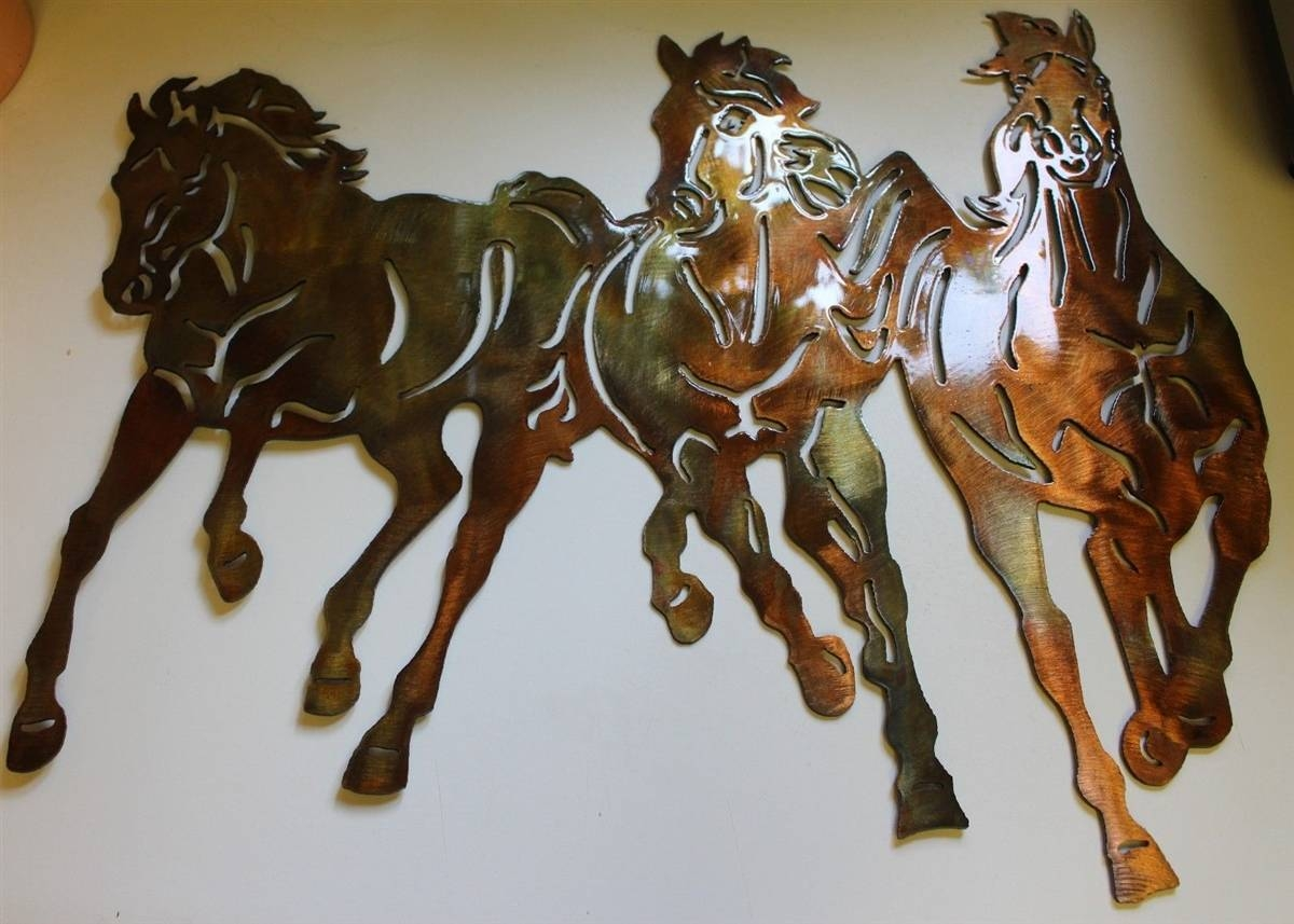 Running Free Western 3 Horses Metal Wall Art Decor In Current Horse Metal Wall Art (View 10 of 20)