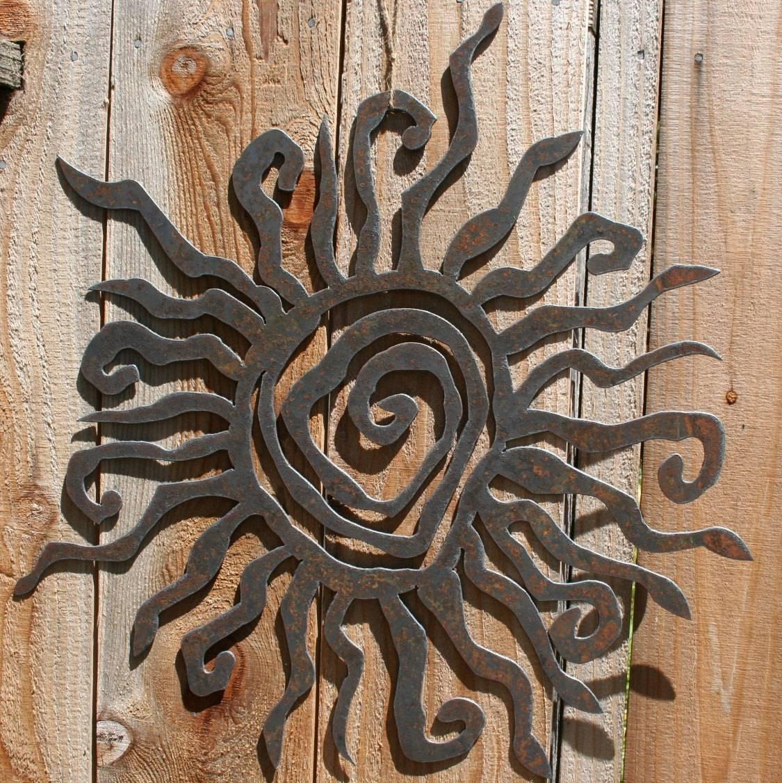 Rustic Sun Indoor/outdoor Wall Decor 30 Recycled Steel In Recent Decorative Outdoor Metal Wall Art (Gallery 1 of 20)