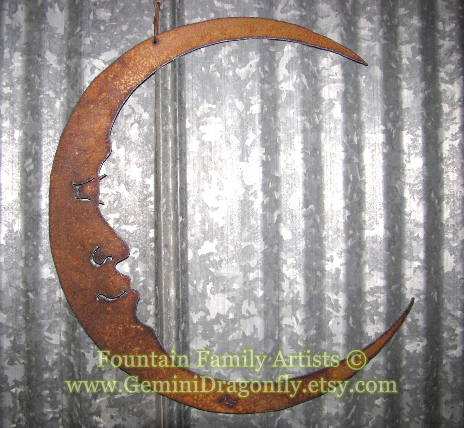 Rusty Crescent Moon / Man In The Moon Metal Garden Art / Recycled Regarding Most Current Moon Outdoor Metal Wall Art (Gallery 11 of 20)