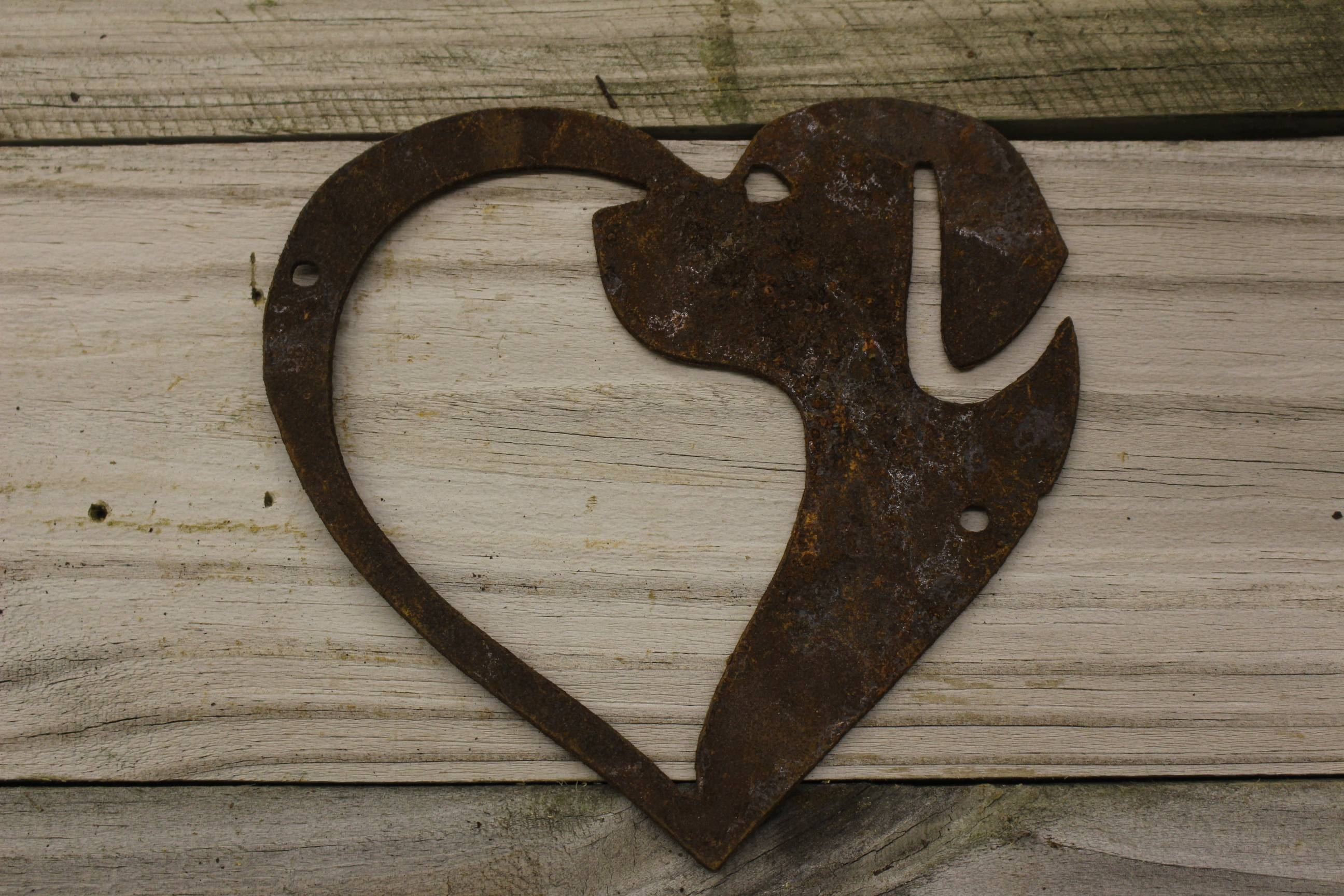 Rusty Thick Metal Dog In Heart Shape – Rustic Metal Letters & Wall Art Pertaining To Recent Heart Shaped Metal Wall Art (View 8 of 20)
