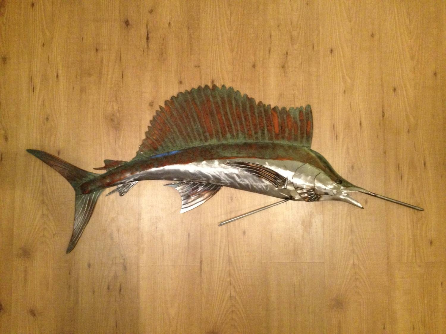 Sailfish 48In Metal Wall Art Fish Sculpture Handmade Beach Within Most Up To Date Handmade Metal Wall Art (View 13 of 20)