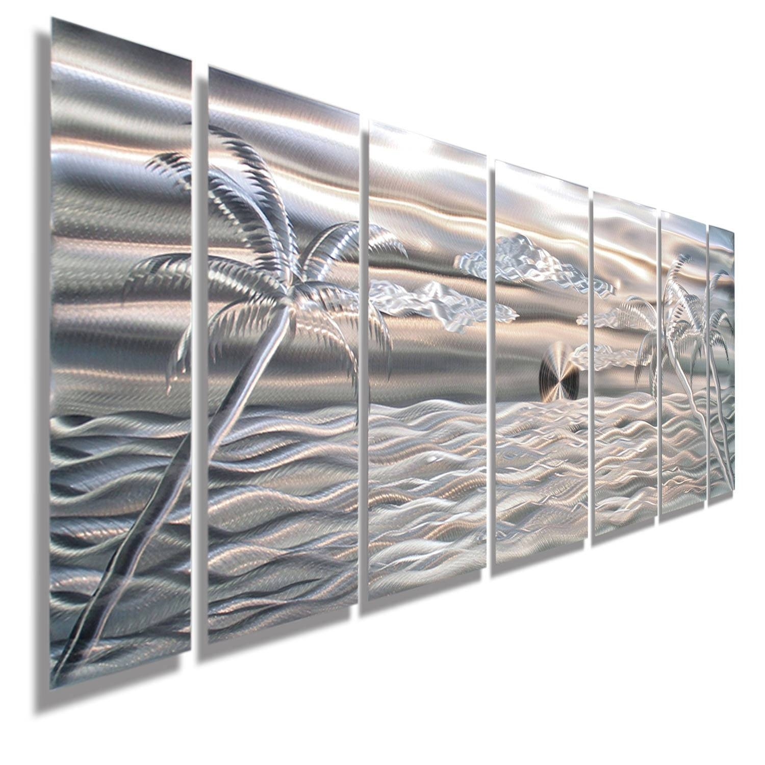 Sale Large Tropical Modern Metal Wall Art Nautical Silver With 2017 Beach Metal Wall Art (View 19 of 20)