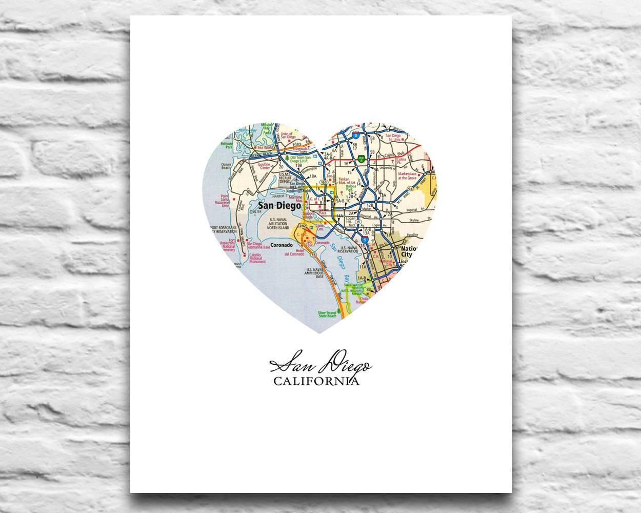 San Diego California Vintage Heart Map Digital Download For Pertaining To Most Recently Released San Diego Map Wall Art (View 6 of 20)