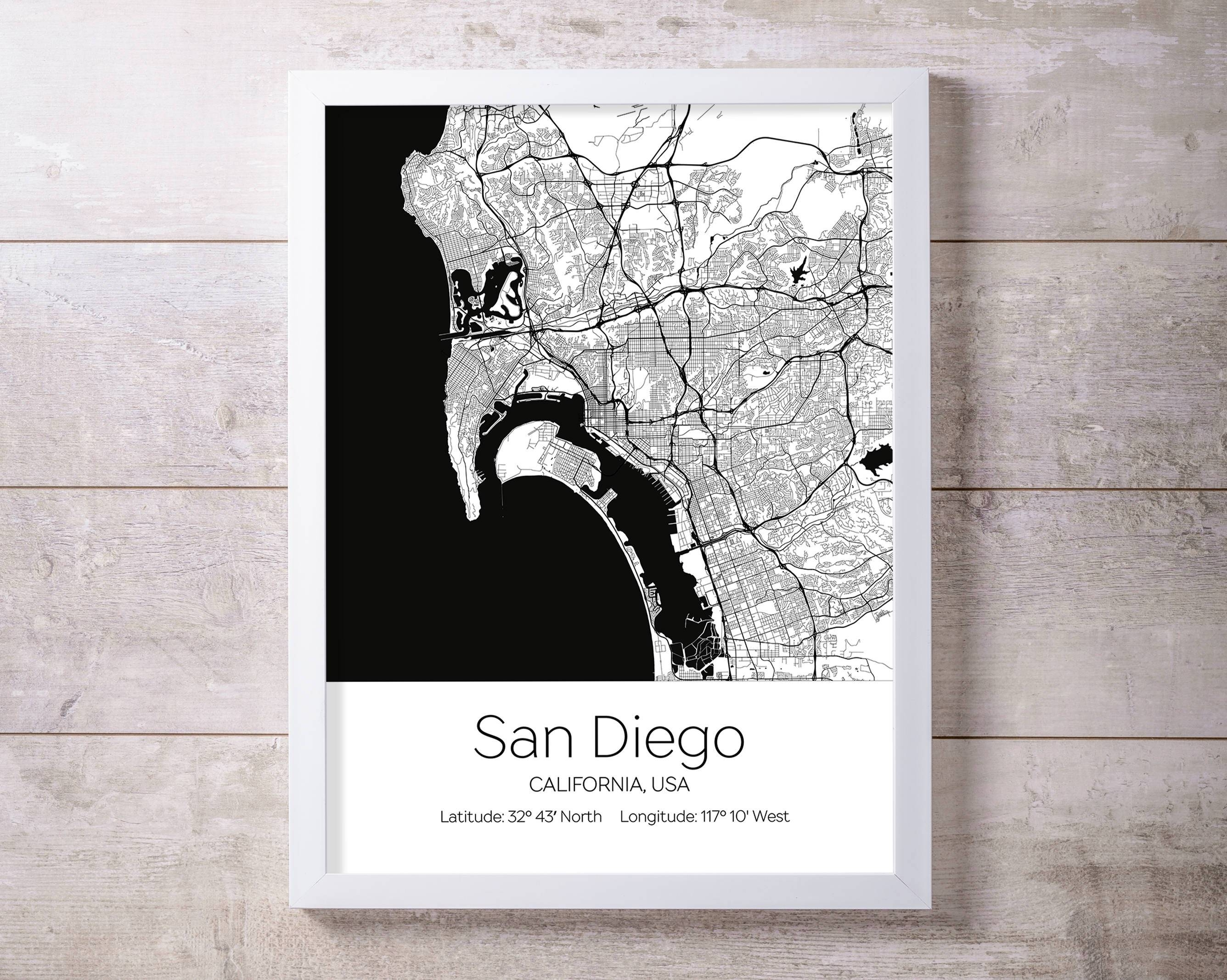 San Diego City Map Wall Art Prints With Regard To Most Recently Released San Diego Map Wall Art (View 8 of 20)