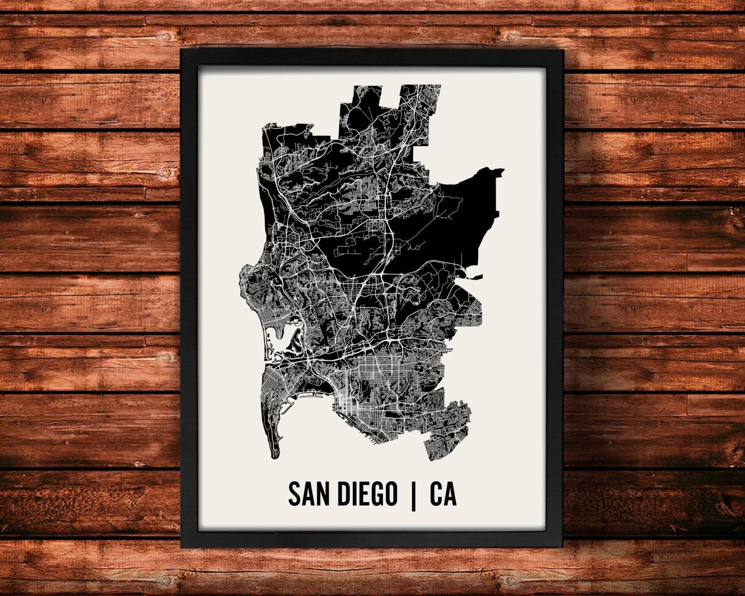 San Diego Map Art Print San Diego Print San Diego Art Throughout Most Up To Date Map Wall Art Prints (View 13 of 20)