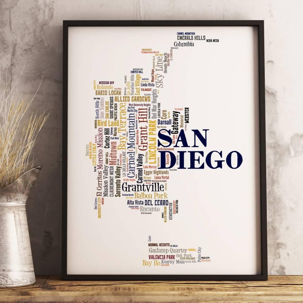 San Diego Map Art San Diego Art Print San Diego Neighborhood Inside Most Up To Date San Diego Map Wall Art (View 3 of 20)
