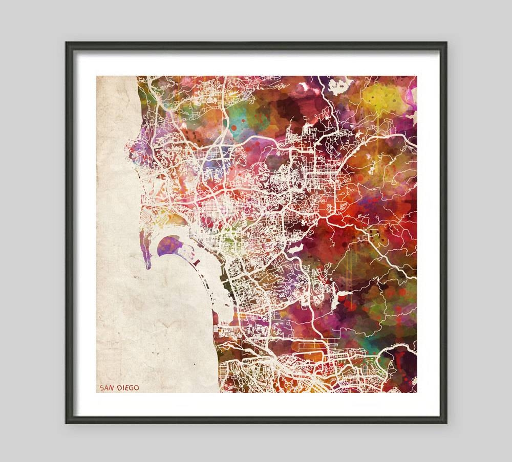 San Diego Map California Watercolor Painting Old Paper Intended For Most Popular San Diego Map Wall Art (View 2 of 20)