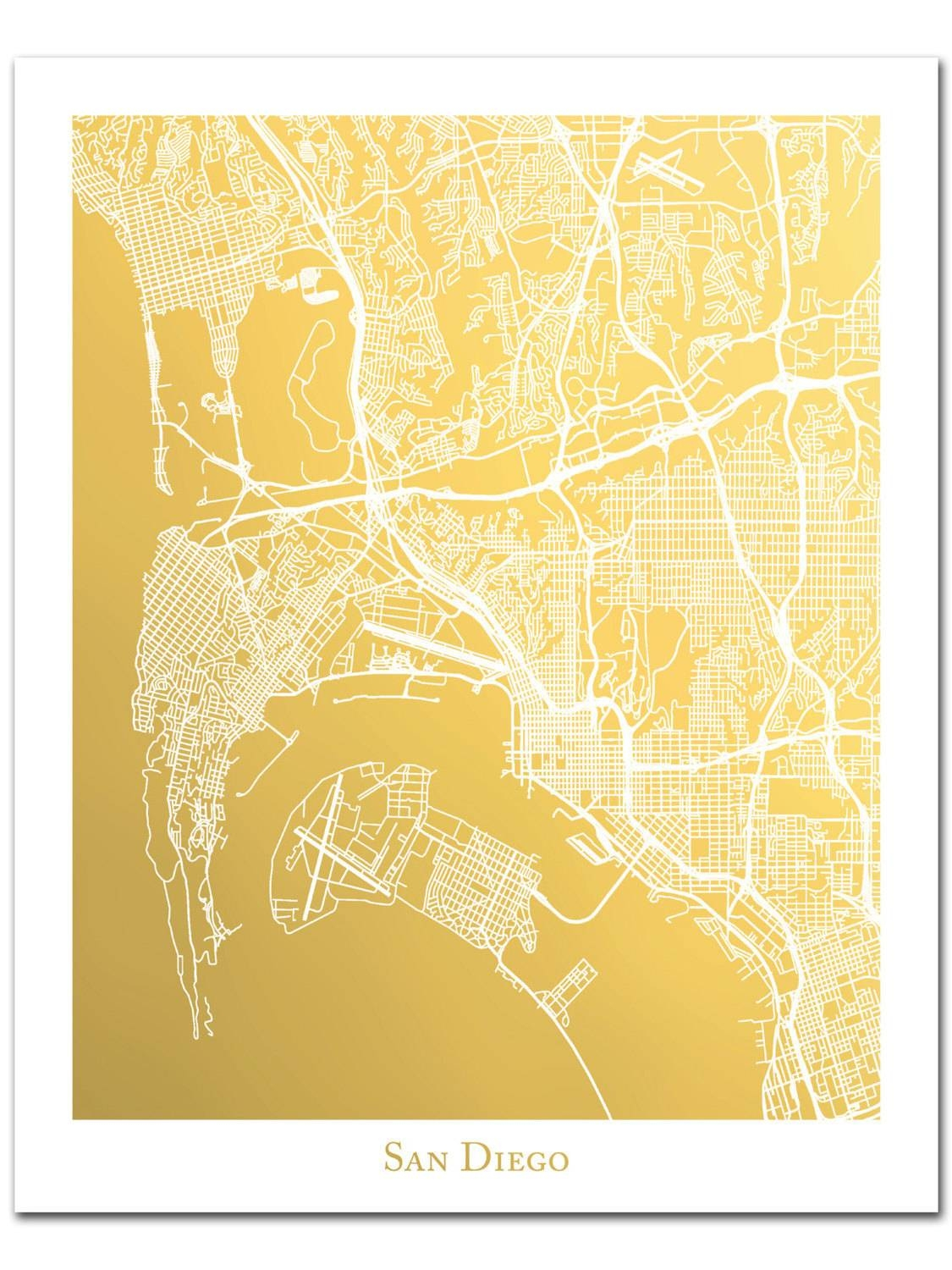 San Diego Map Gold Foil Map Of San Diego Gold Foil Print Map Intended For Current San Diego Map Wall Art (View 13 of 20)