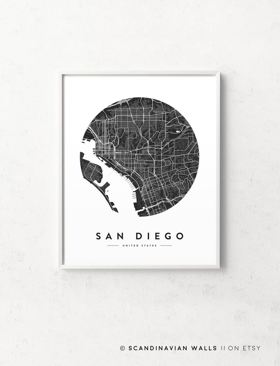 San Diego Map San Diego Print San Diego City Map San Diego Intended For Most Popular San Diego Map Wall Art (View 15 of 20)