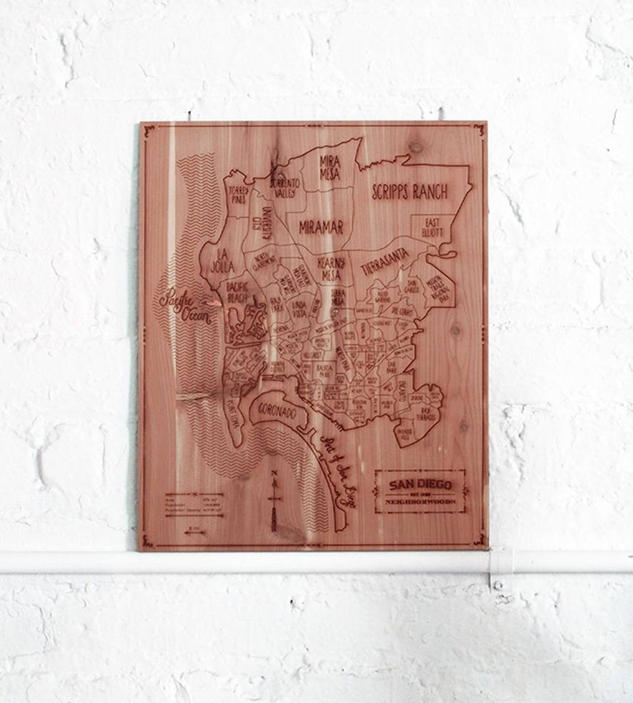 San Diego Wood Map | Inactive Goods With Grain | Neighborwoods Intended For Best And Newest San Diego Map Wall Art (View 17 of 20)