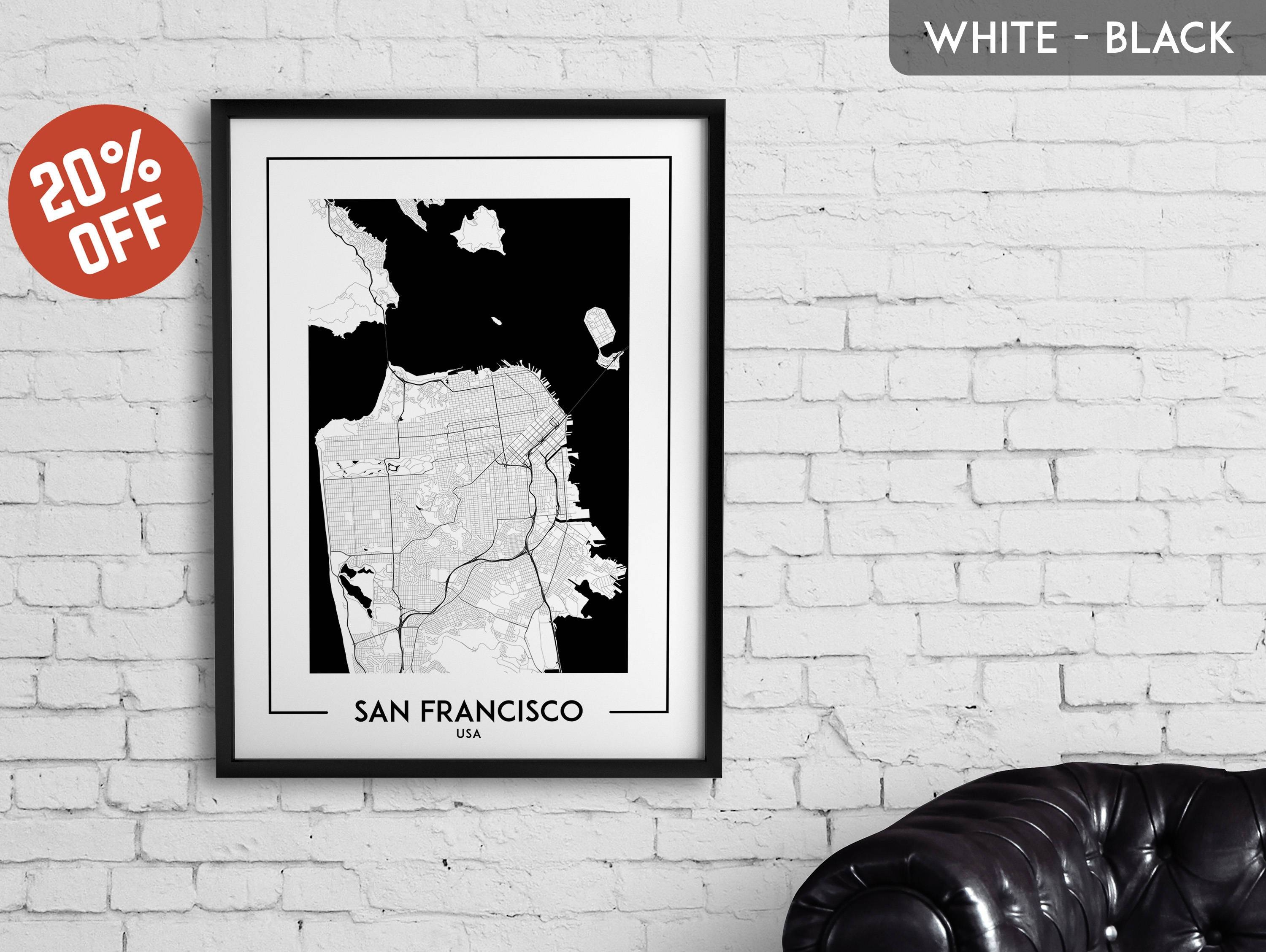 San Francisco Map Print San Francisco Poster San Francisco For Most Current San Francisco Map Wall Art (View 8 of 20)