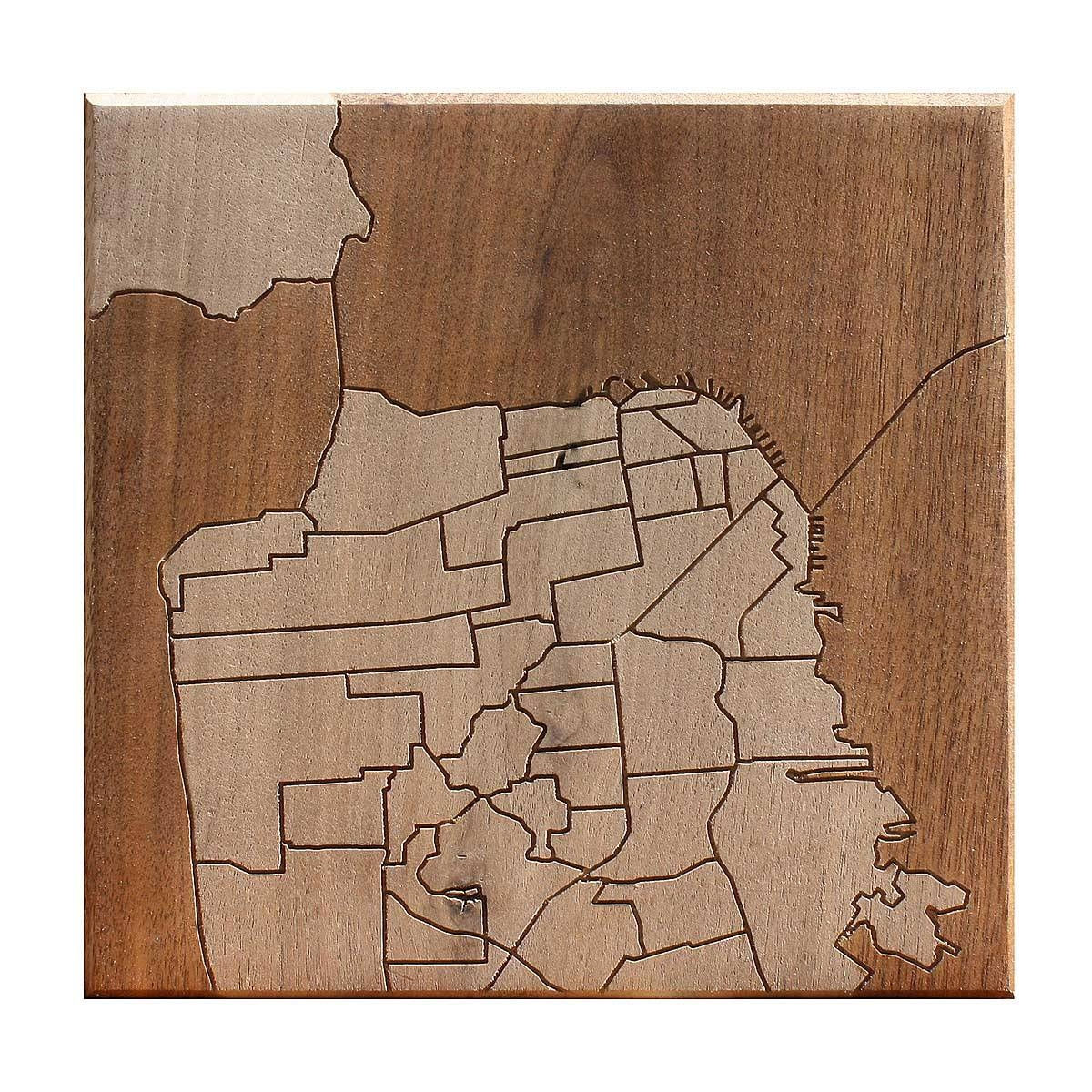San Francisco Neighborhood Map Wooden Routing | California, San Inside Most Recent San Francisco Map Wall Art (View 9 of 20)