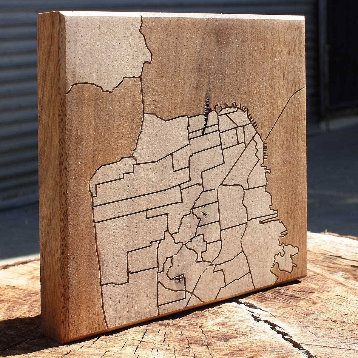San Francisco Neighborhood Map Wooden Routing | California, San With Regard To 2018 San Francisco Map Wall Art (View 10 of 20)