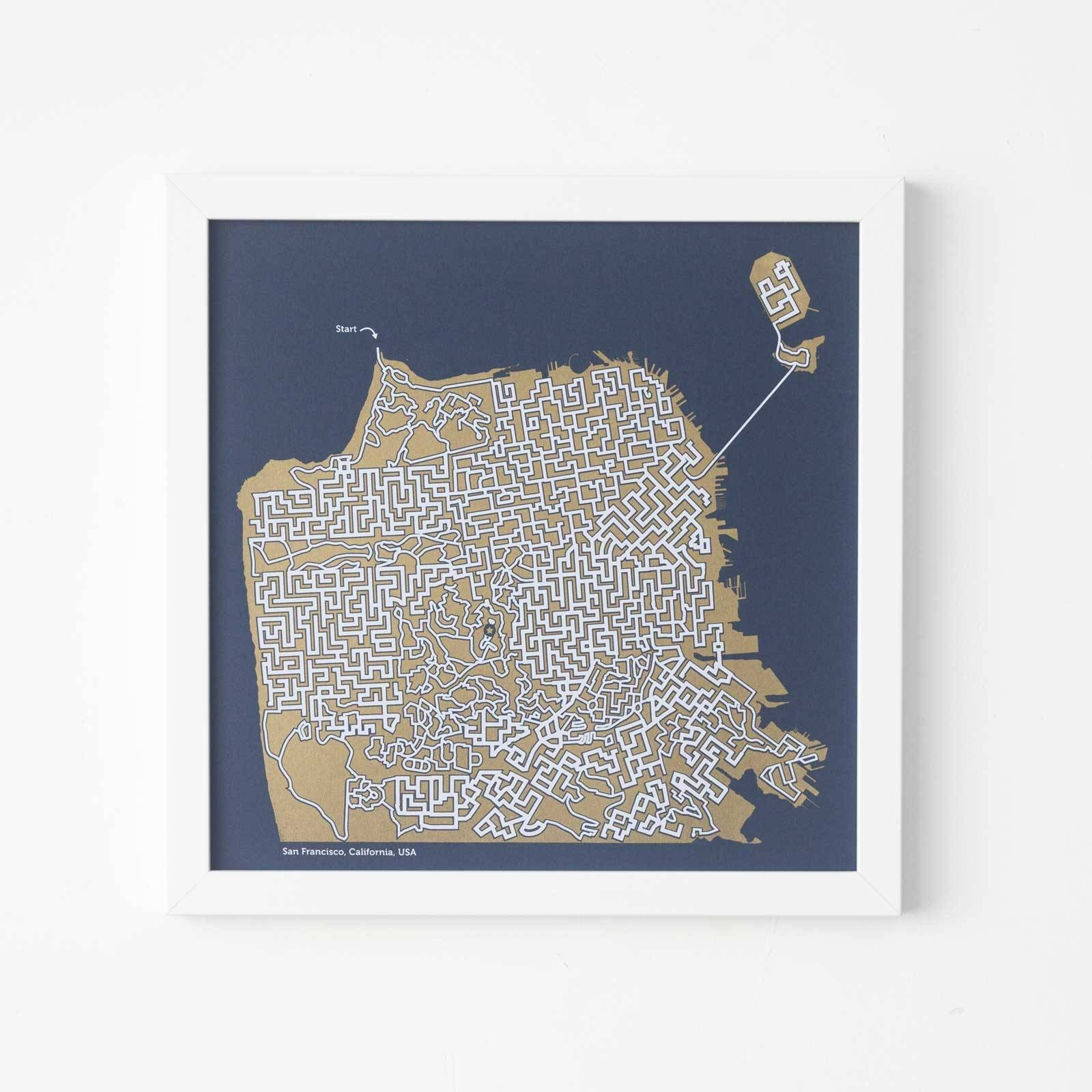 San Francisco Poster Gold Map San Francisco Map Maze Throughout 2018 San Francisco Map Wall Art (View 11 of 20)