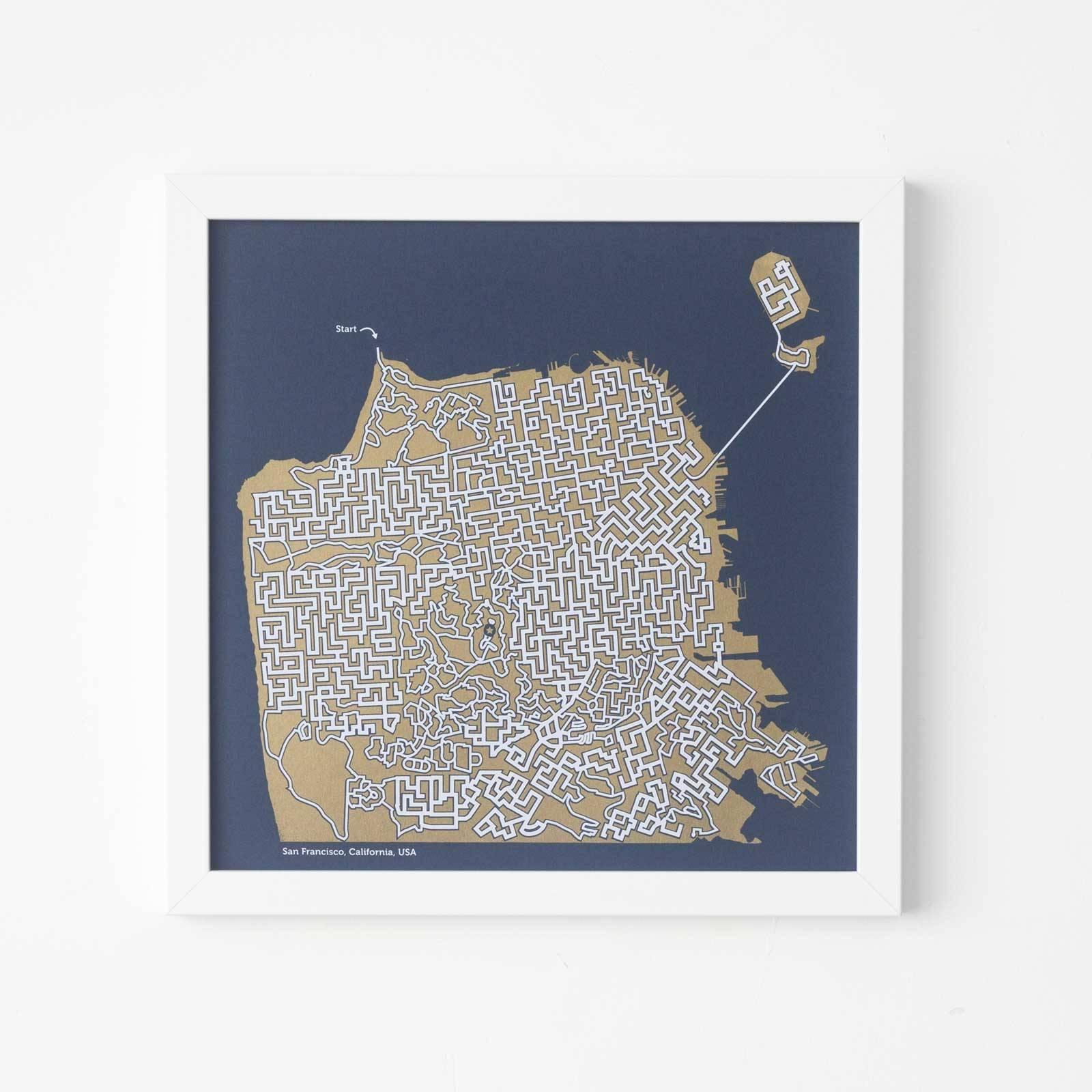 San Francisco Poster Gold Map San Francisco Map Maze Throughout 2018 San Francisco Map Wall Art (View 11 of 20)