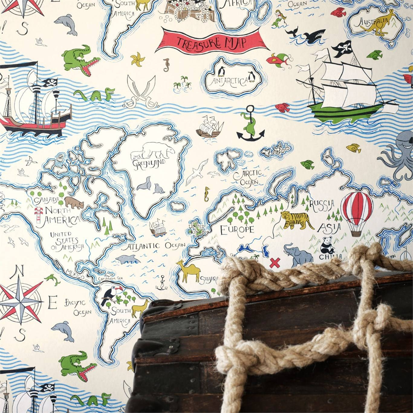 Sanderson Treasure Map Wallpaper 214038 Within Most Up To Date Treasure Map Wall Art (View 14 of 20)