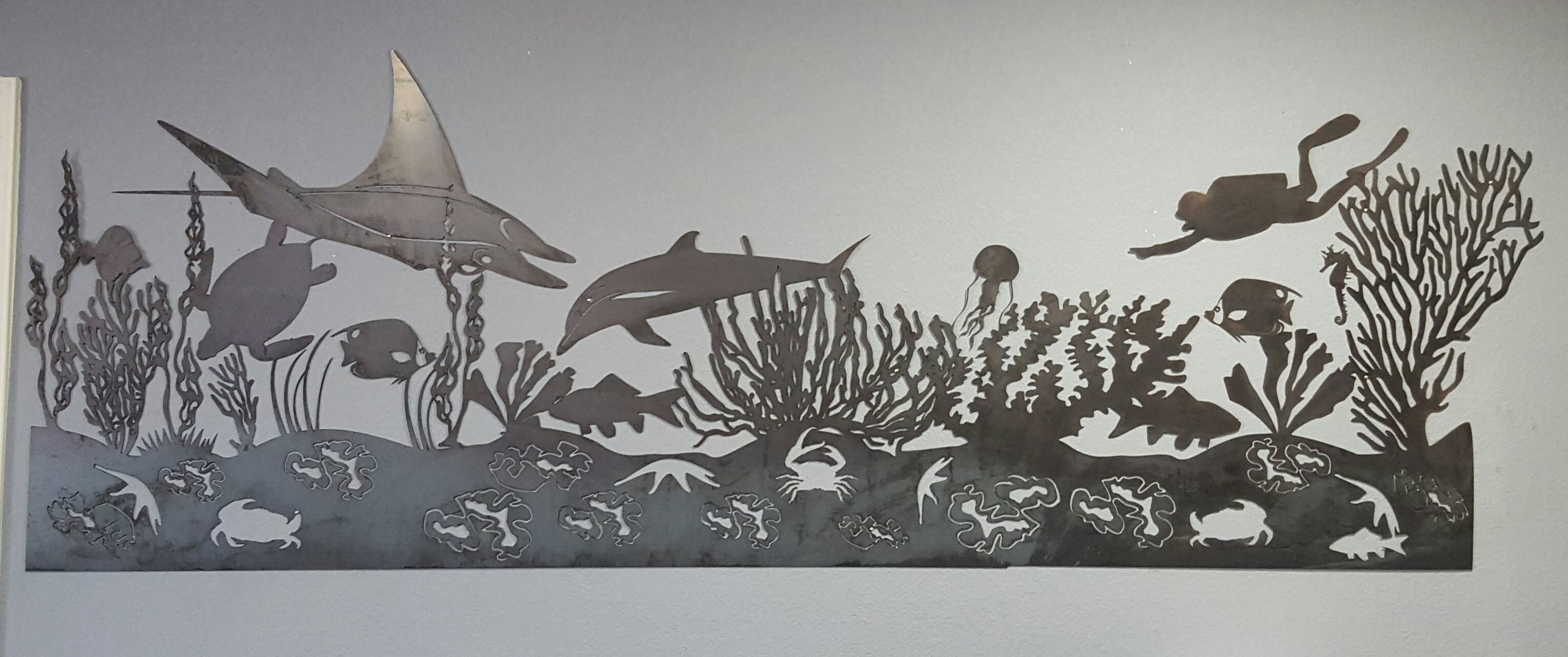 Sea Life Mural Metal Wall Art | Blue Collar Welding Llc Regarding 2017 Black And White Metal Wall Art (View 12 of 20)