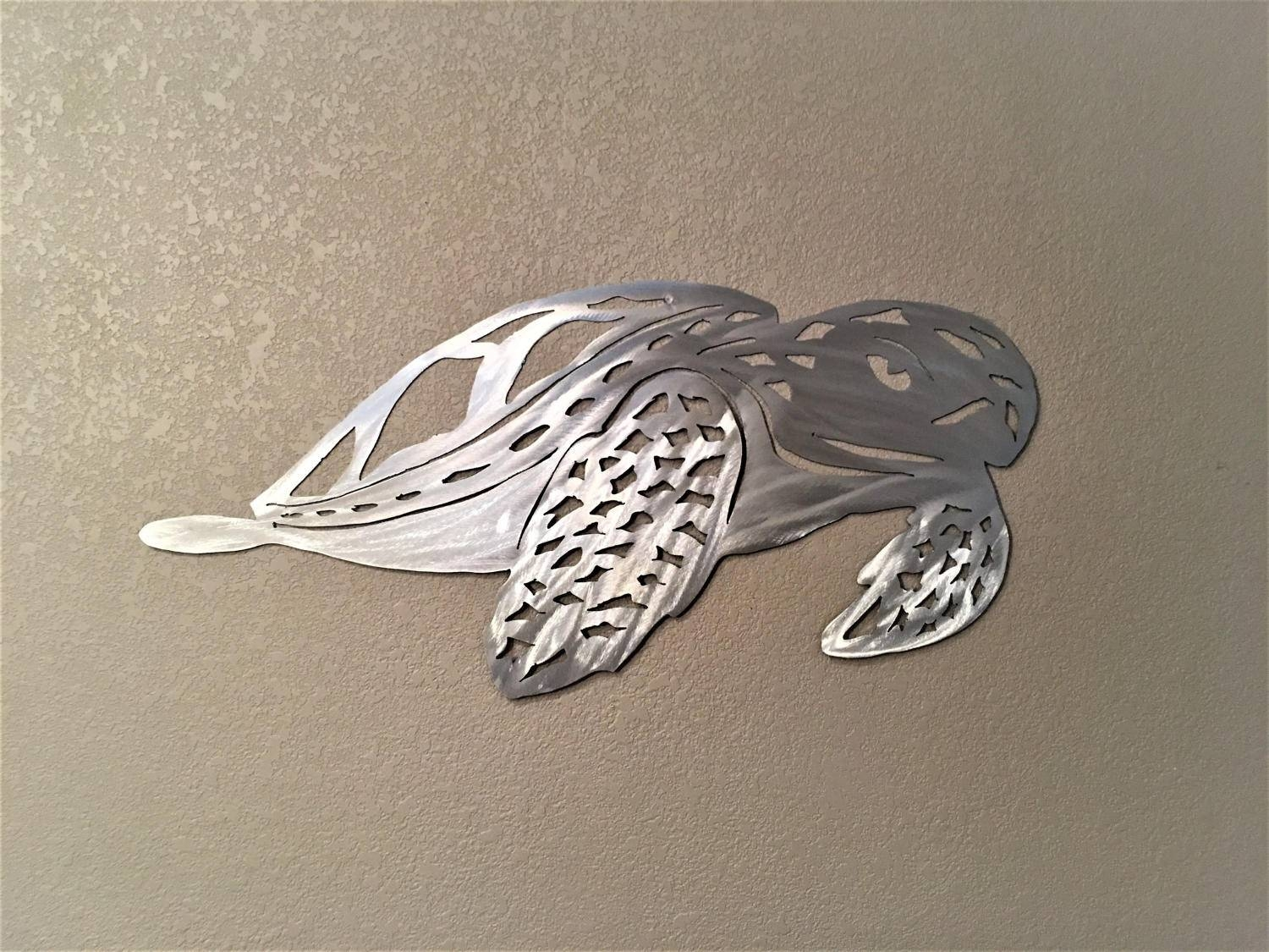 Sea Turtle Metal Wall Art. Green Turtle Wall Artwork (View 8 of 20)