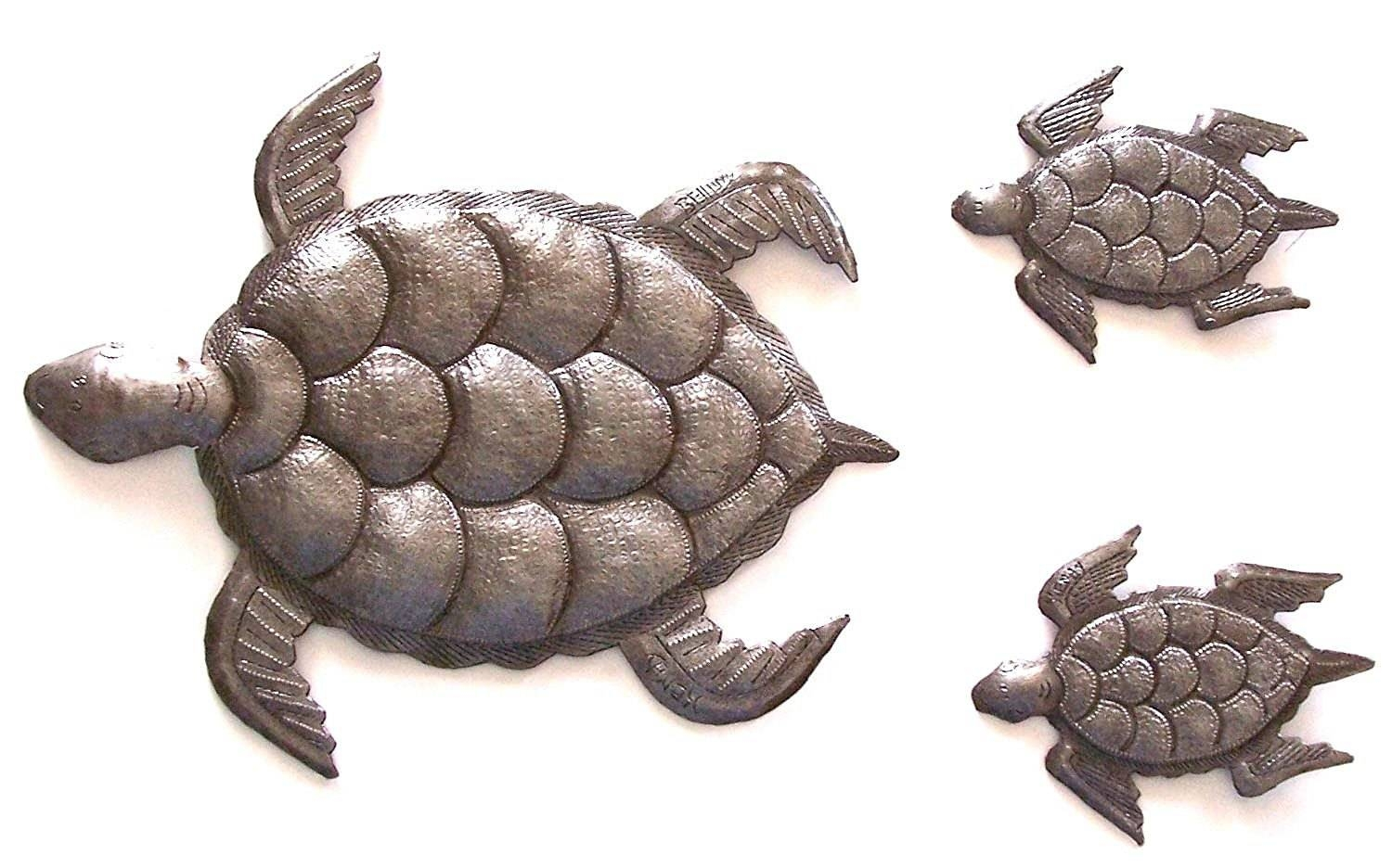 Sea Turtle, Set Of 3, Swimming Left, Ocean, Beach, Metal Wall Art For Most Popular Turtle Metal Wall Art (View 6 of 20)