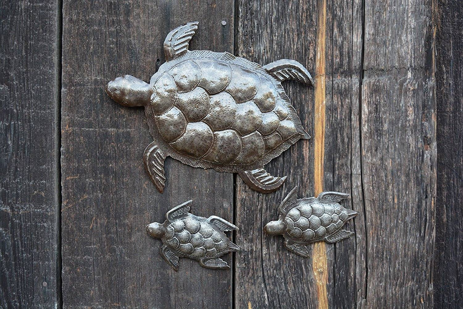 Sea Turtle, Set Of 3, Swimming Left, Ocean, Beach, Metal Wall Art Within 2017 Sea Turtle Metal Wall Art (View 11 of 20)