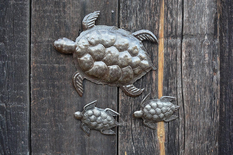 Sea Turtle, Set Of 3, Swimming Left, Ocean, Beach, Metal Wall Art Within 2017 Sea Turtle Metal Wall Art (View 15 of 20)