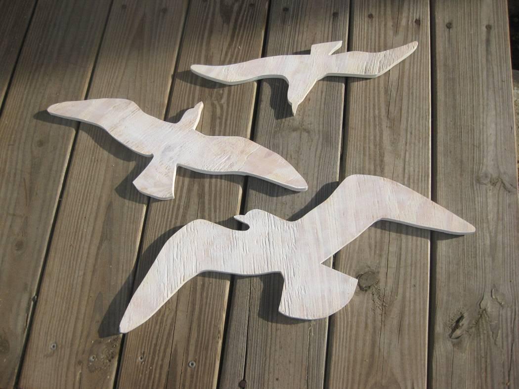 Seagulls Beach Decor Sea Birds Wood Wall Art Cottage Coastal Inside Current Seagull Metal Wall Art (View 14 of 20)