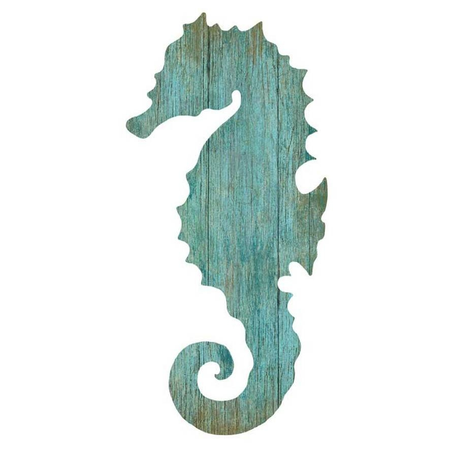 Seahorse Silhouette Facing Left Wall Art – Aqua – Beach Décor Shop In Recent Seahorse Metal Wall Art (View 10 of 20)