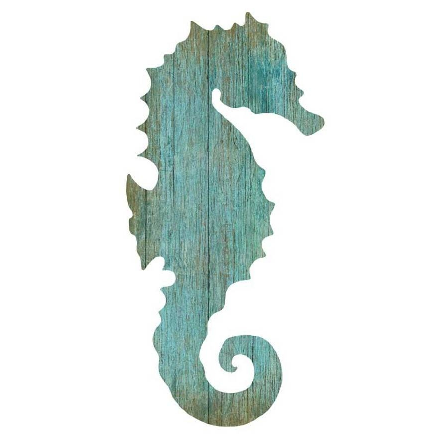 Seahorse Silhouette Facing Right Wall Art – Aqua – Beach Décor Shop With Regard To 2017 Seahorse Metal Wall Art (View 12 of 20)