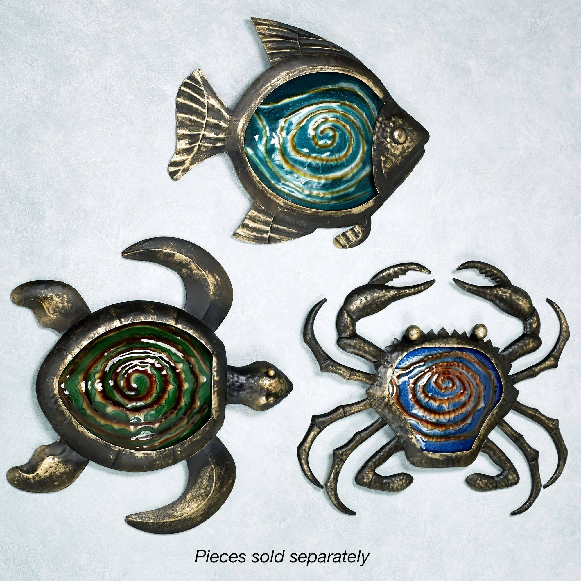 Sealife Indoor Outdoor Glass Metal Wall Art Intended For 2017 Turtle Metal Wall Art (View 15 of 20)