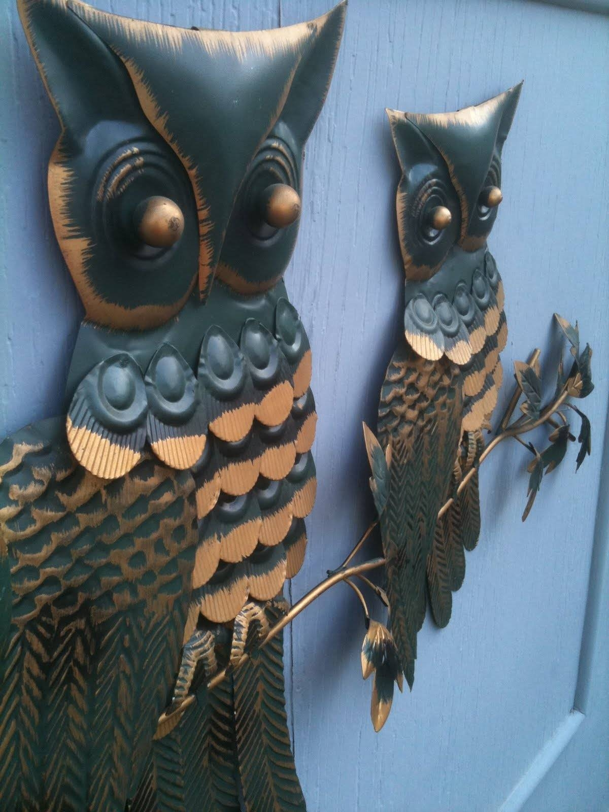 Seattle Junk Love: Sold  Groovy Painted Metal Owls Wall Art – $35 With Newest Owls Metal Wall Art (View 14 of 20)