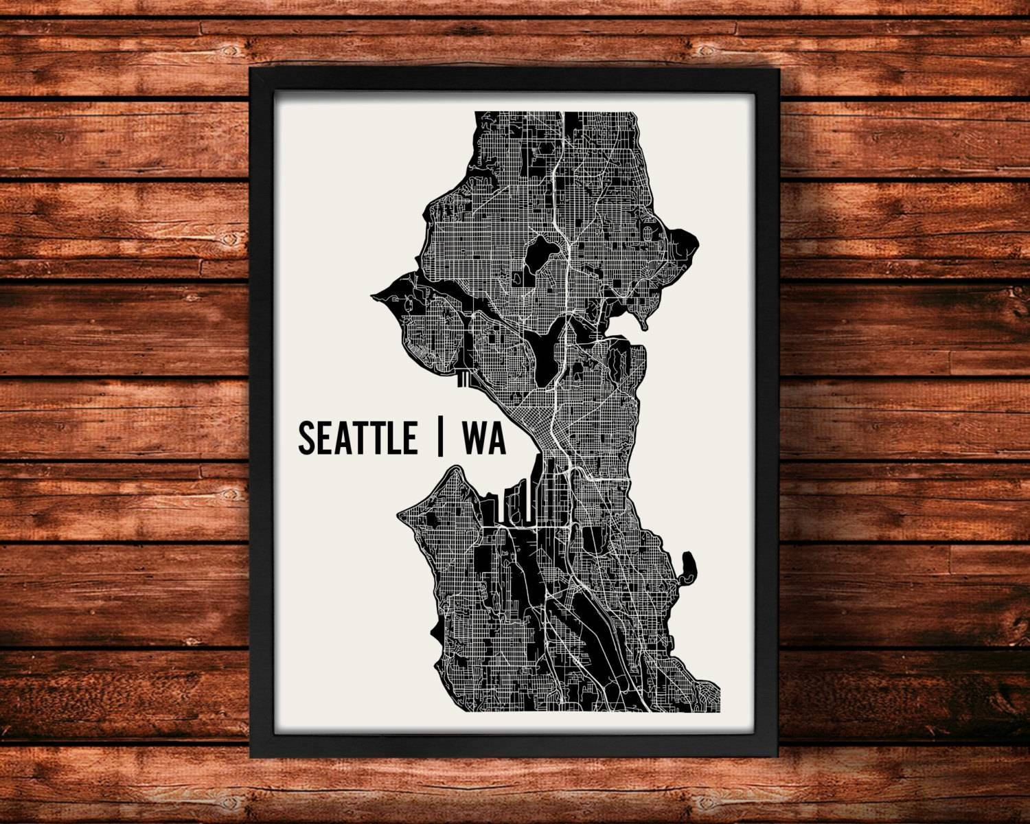 Seattle Map Art Print Seattle Print Seattle Art Print Within Current Map Wall Art Prints (View 14 of 20)