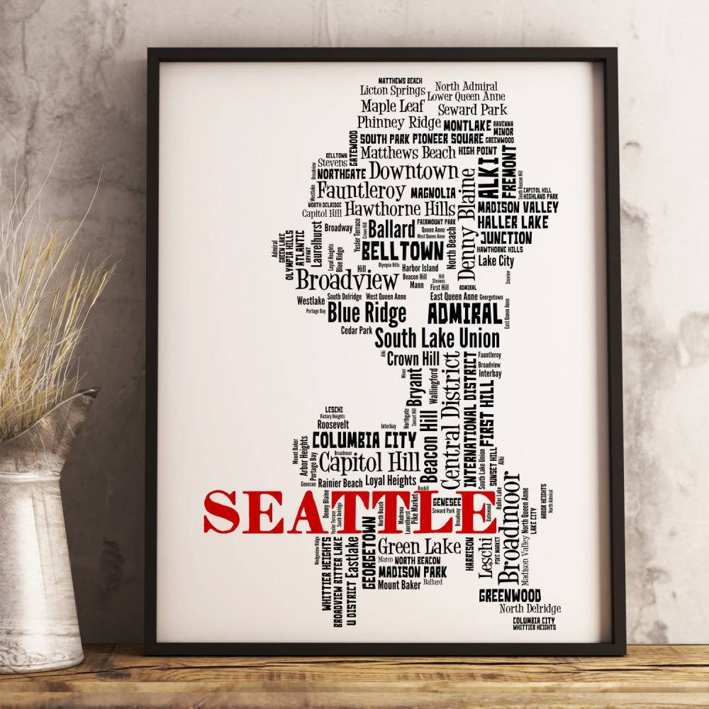 Seattle Map Art Seattle Art Print Seattle Neighborhood Map With Best And Newest Seattle Map Wall Art (View 6 of 20)