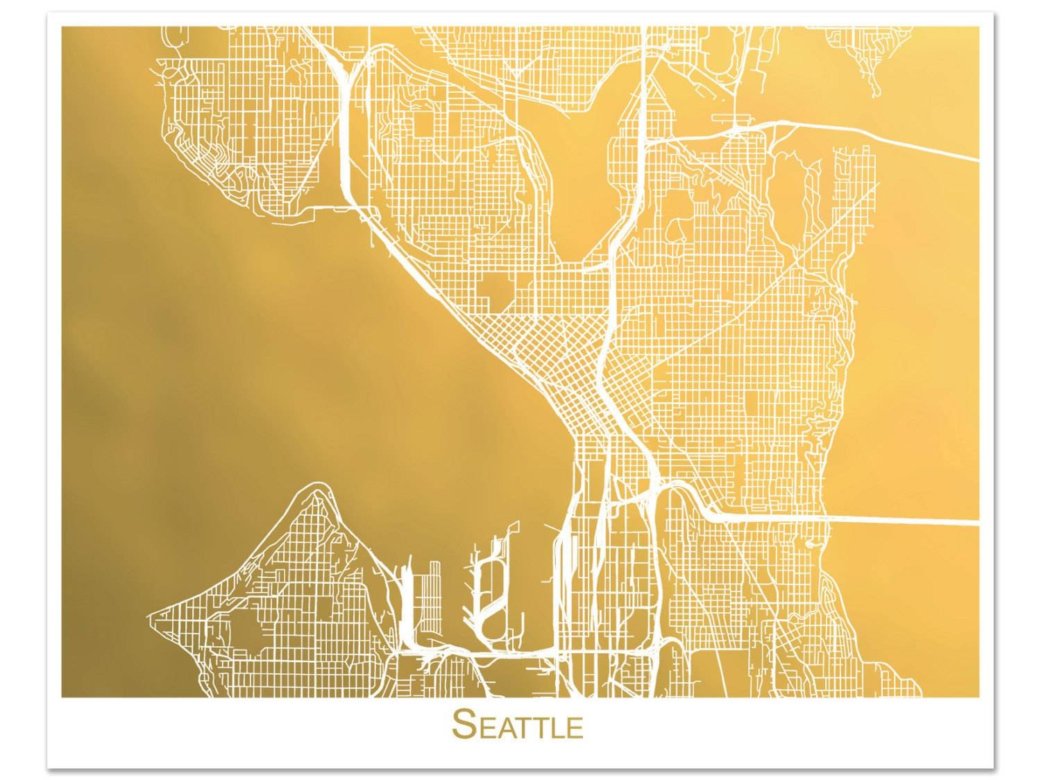 Seattle Map Gold Foil Map Of Seattle Seattle Print With Within Current Seattle Map Wall Art (View 7 of 20)
