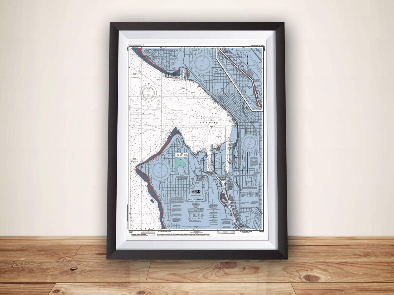 Seattle Map Nautical Chart Map Seattle Art Map Art Seattle With Latest Seattle Map Wall Art (View 14 of 20)