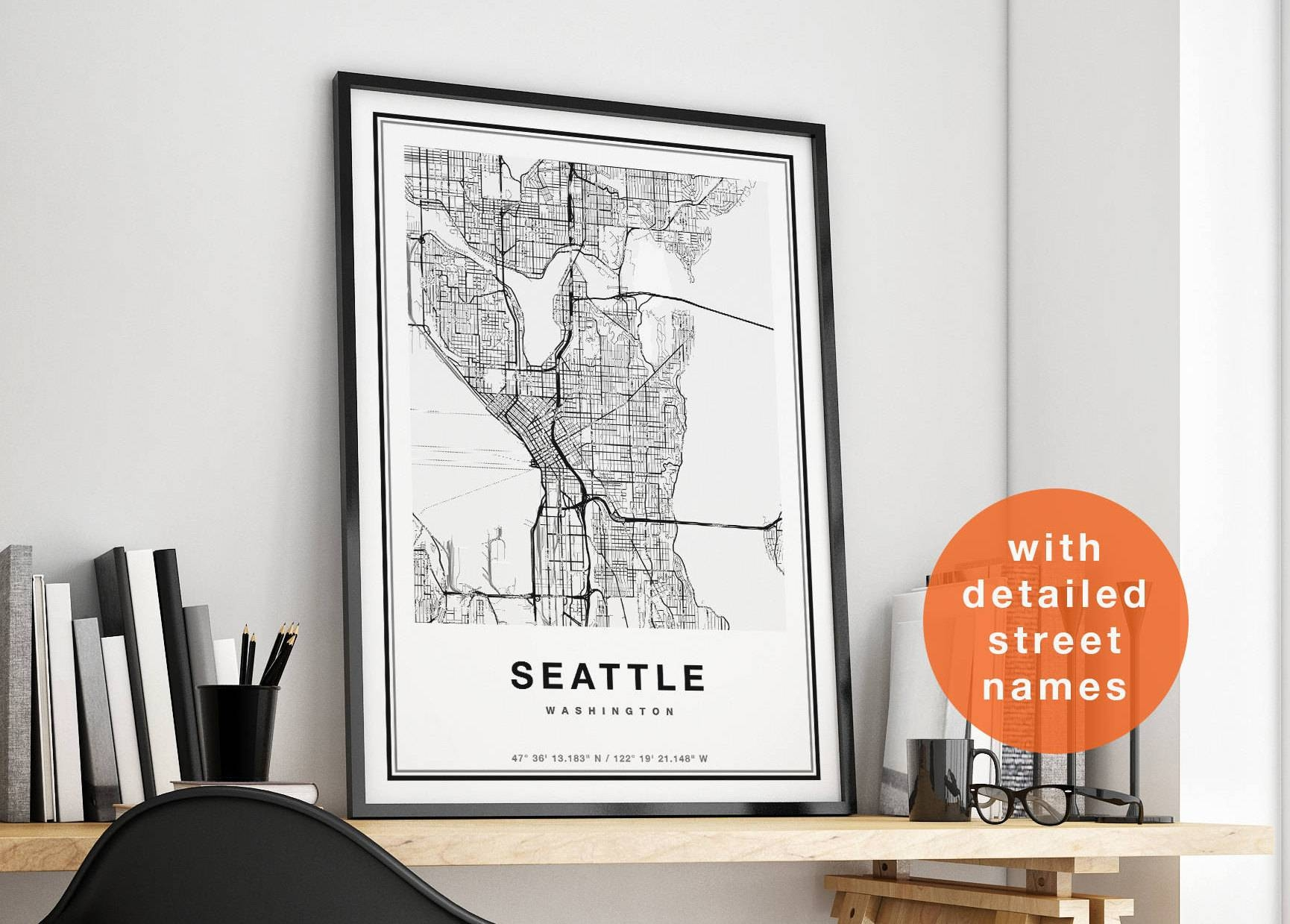 Seattle Map Print Seattle City Map Print Seattle Map Art For Most Popular Seattle Map Wall Art (View 9 of 20)
