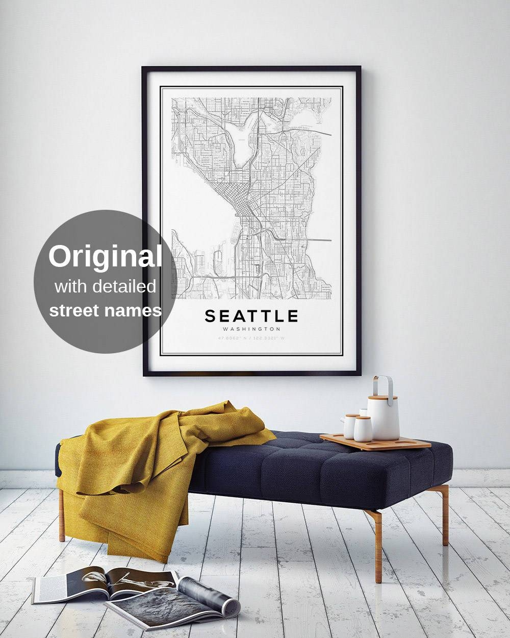 Seattle Map Print Washington City Maps City Map Prints Wall For Most Current Seattle Map Wall Art (View 10 of 20)