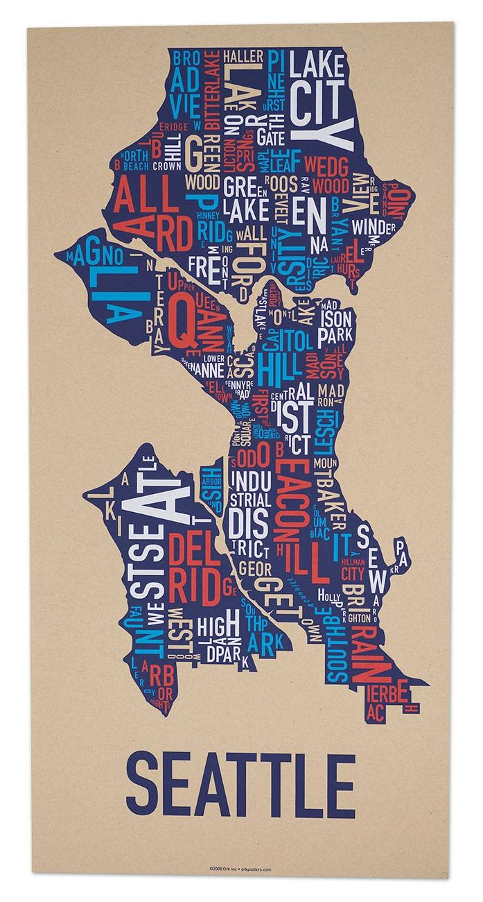 "Seattle Neighborhood Map 13"" X 26"" Multi Color Screenprint Regarding Most Current Chicago Neighborhood Map Wall Art (View 12 of 20)"