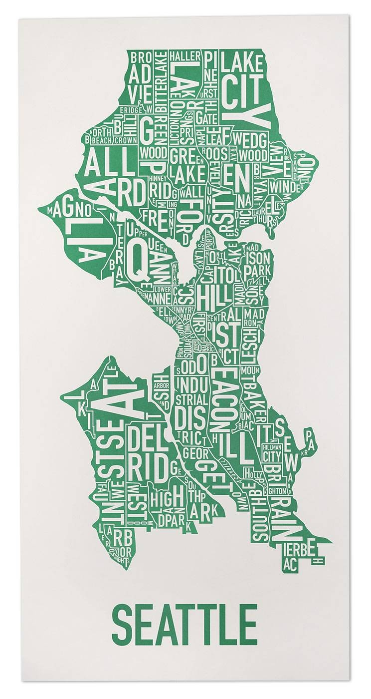 """Seattle Neighborhood Map 16"""" X 32"""" Emerald City Green Poster Throughout Most Up To Date Seattle Map Wall Art (View 4 of 20)"""