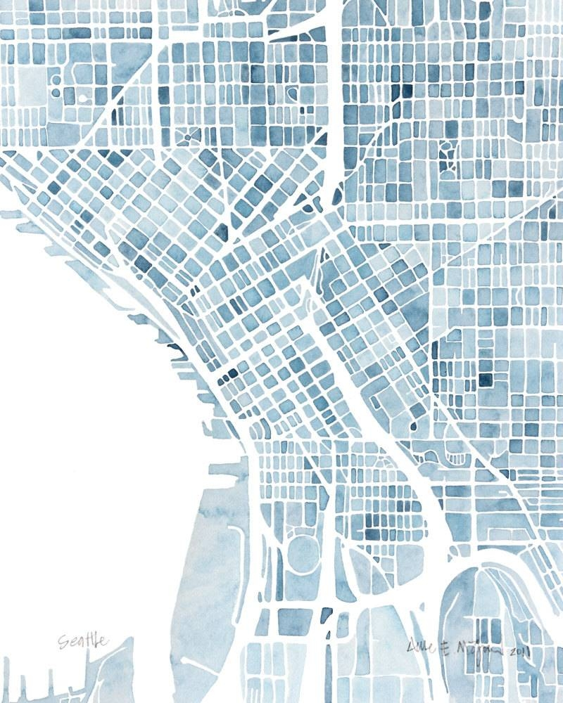 Seattle Washington Blueprint 10x8 City Map Watercolor Wall Art Within Current Seattle Map Wall Art (View 10 of 20)