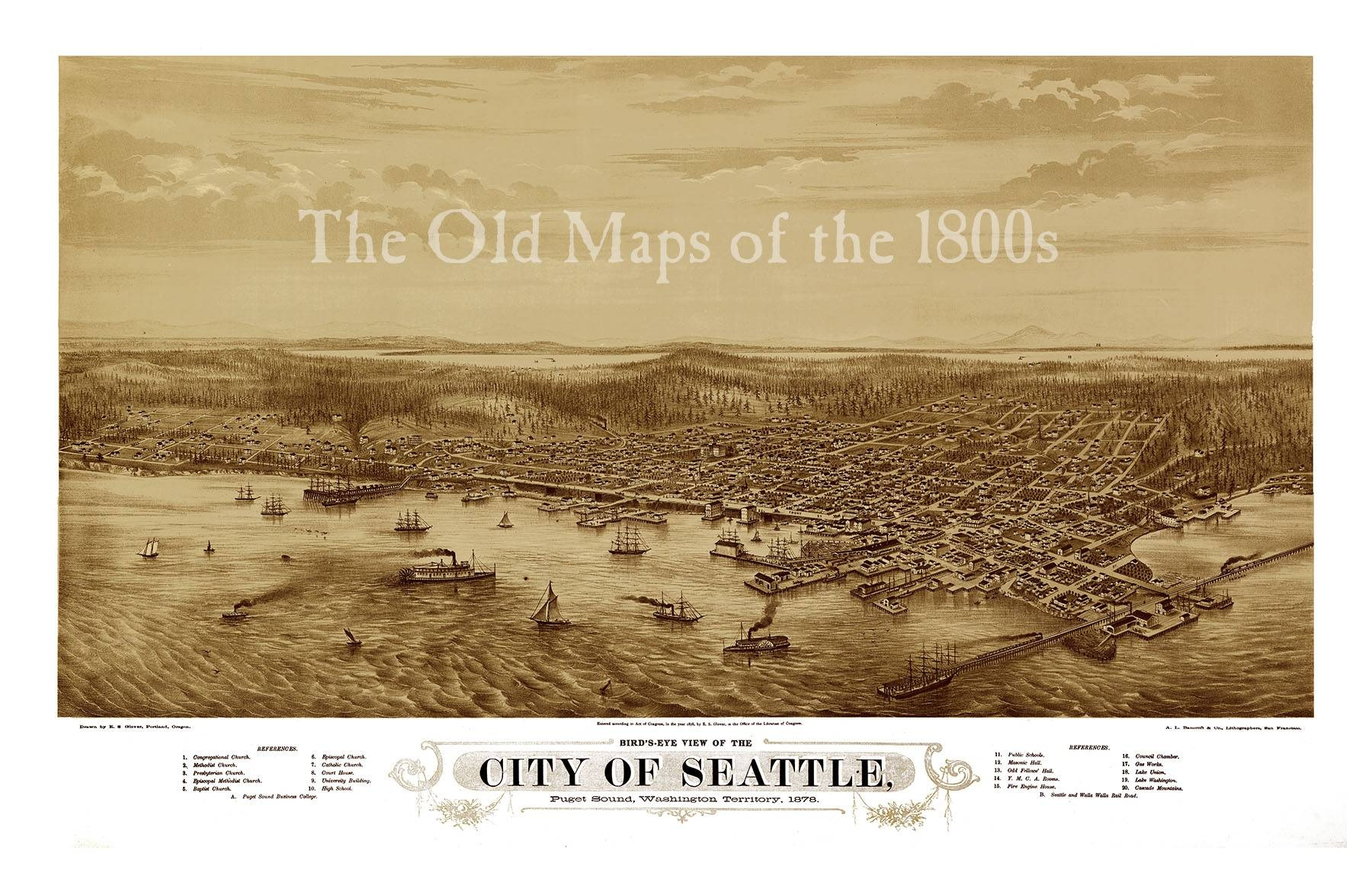 Seattle, Washington In 1878 – Bird's Eye View, Aerial Map Intended For 2017 Seattle Map Wall Art (View 7 of 20)