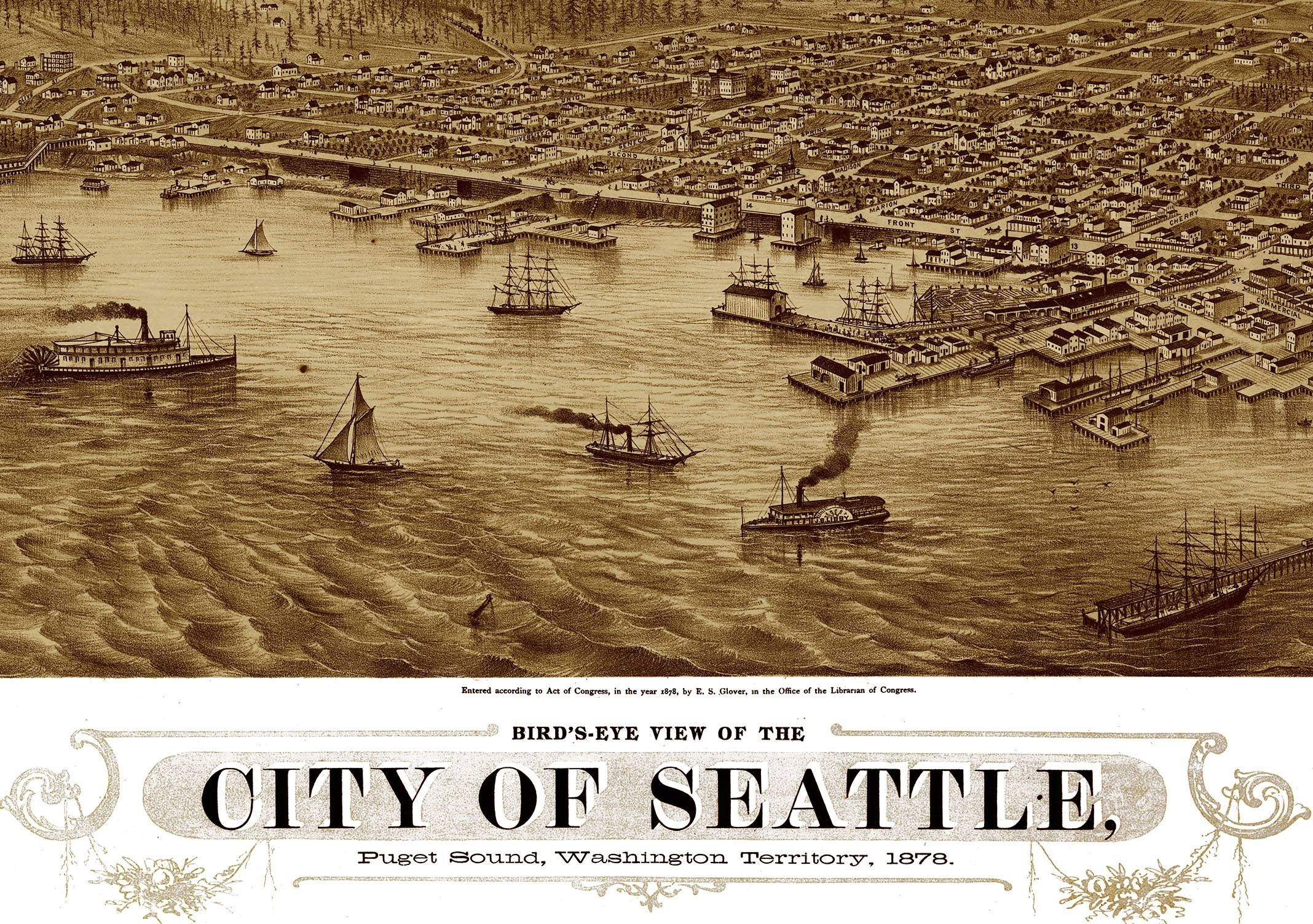 Seattle, Washington In 1878 – Bird's Eye View, Aerial Map Intended For Best And Newest Seattle Map Wall Art (View 16 of 20)